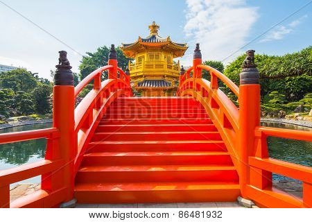 Golden Pavilion In Nan Lian Garden At Diamond Hill In Hong Kong