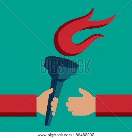 Torch Exchange Vector Illustration In Flat Style