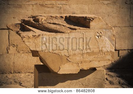 old egypt hieroglyphs carved on the stone.Luxor. Deir el-Bahari