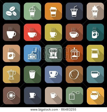 Coffee Flat Icons With Long Shadow