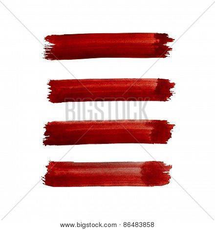 Watercolor Red Lines Isolated On White