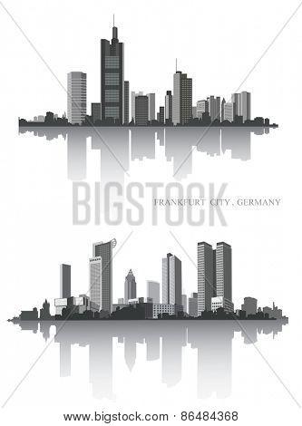 Frankfurt on the river. Urban panorama. Vector set.