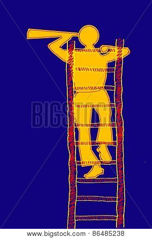 Search Concept, Man Climbing To The Top Of A Ladder And Searching
