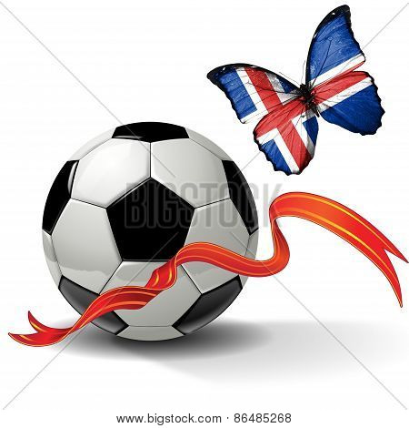 Soccer ball with ribbon and butterfly with the flag of Iceland