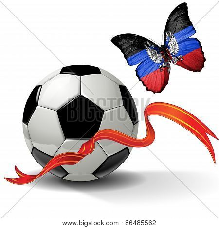 Soccer ball with ribbon and butterfly with the flag of Donetsk People's Republic