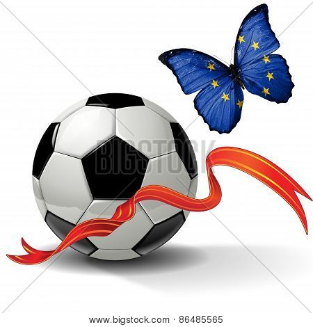 Soccer ball with ribbon and butterfly with the flag of EU