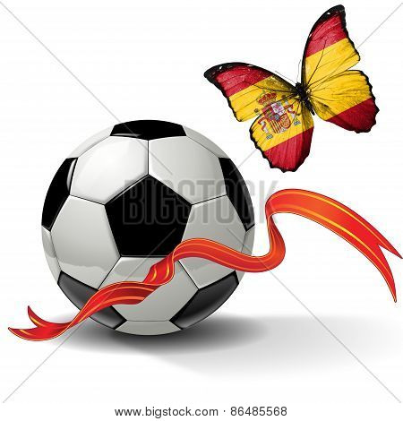 Soccer ball with ribbon and butterfly with the flag of Spain