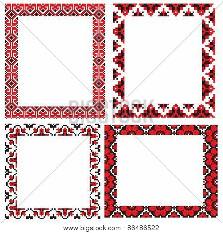 four Ukraine folk embroider pattern frame set