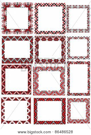 twelve Ukraine folk embroider pattern frame set