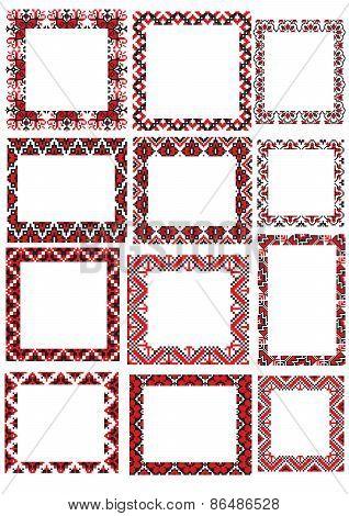 twelve Ukraine folk embroider pattern frame set