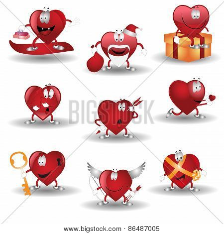 heart cartoon heroes valentine icon