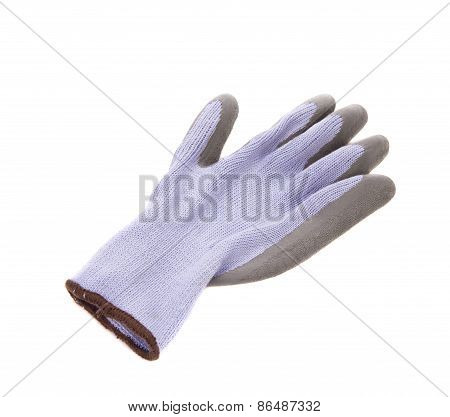 Gray rubber protective glove