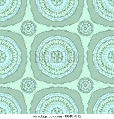 Seamless pattern with circle ornament  in marine blue