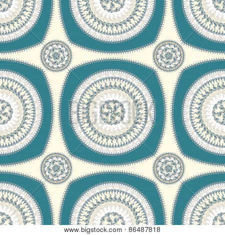 Seamless pattern with circle ornament  in beige blue