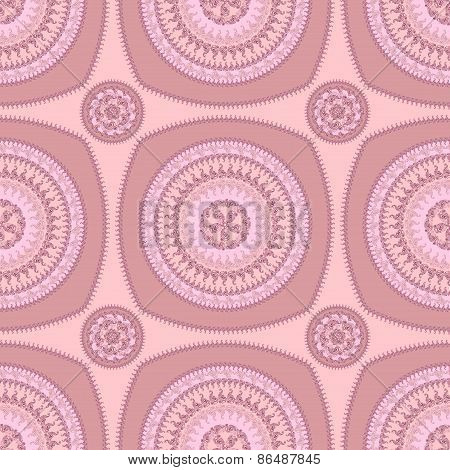 Seamless pattern with circle ornament  in pink lilac