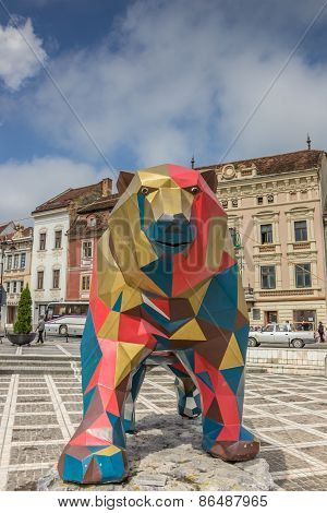 Large Iron Statue Of A Bear At Piata Sfatului In Brasov