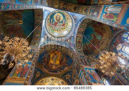 Interior Of The Church Of The Savior On Spilled Blood In Petersburg, Russia
