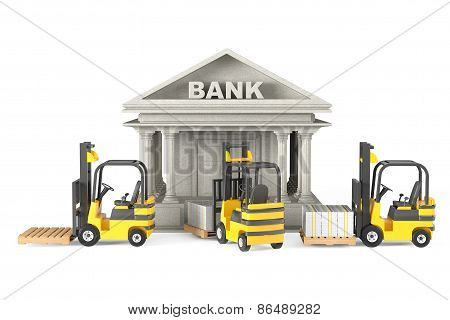 Forklift Trucks Moves Stacked Dollars In Bank Building