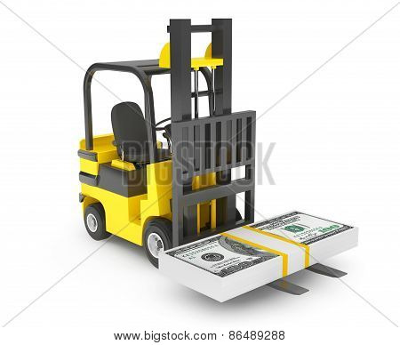 Forklift Truck Moves Dollars