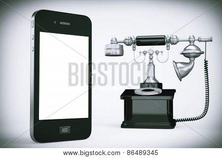 Mobile Phone With Vintage Telephone