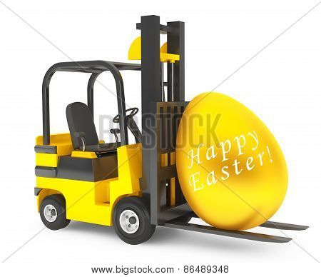 Forklift Truck Moves Golden Easter Egg