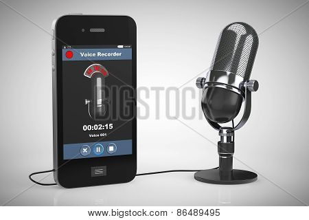 Mobile Phone As Voice Recorder With Microphone