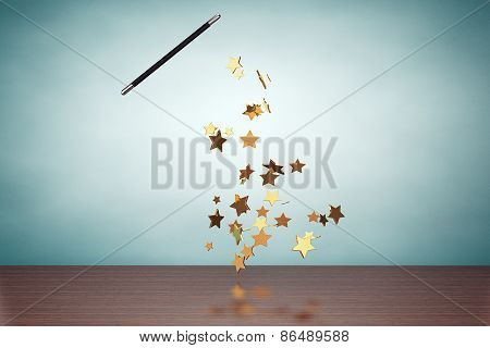 Old Style Photo. Magic Wand Casting Shiny Golden Stars