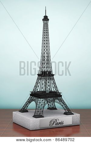 Old Style Photo. Eiffel Tower Statue