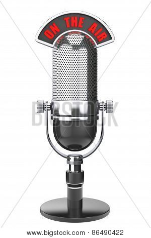 Vintage Silver Microphone With On The Air Sign