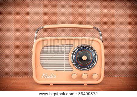 Closeup Vintage Radio On Table