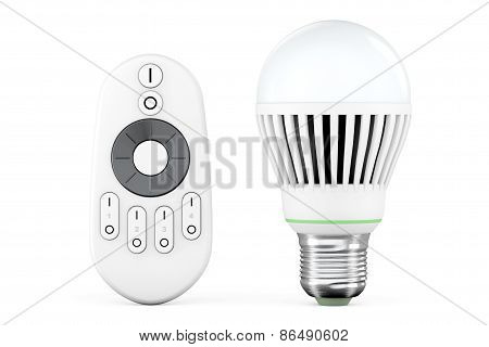 Closeup Led Bulb With Remote Controller