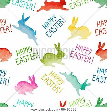 Seamless Background With Watercolor Colorful Rabbits And Lettering.