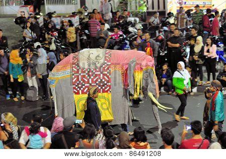 Elephant costume, Yogyakarta city festival parade