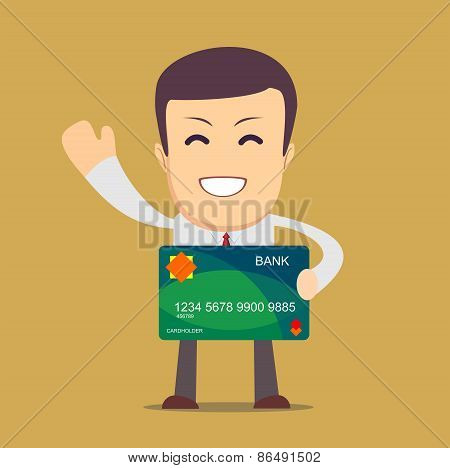 Businessman holding a bank card - vector