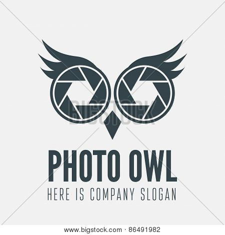 Logo, label, badge, emblem or logotype element with owl and shutter for business, photographer, stud