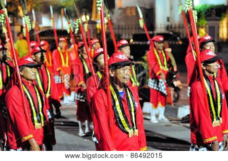 Men dressed as traditional sultan guards, Yogyakarta city festival parade