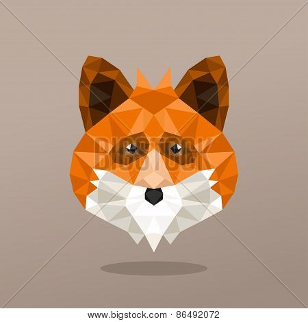 Animal Portrait With Polygonal Geometric Design Vector Illustration. Fox
