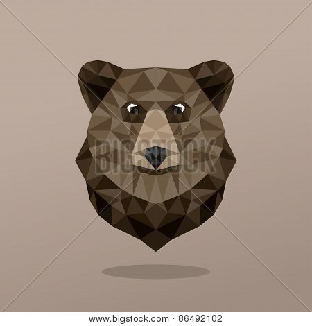 Animal Portrait With Polygonal Geometric Design Vector Illustration. Bear