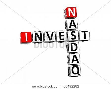 3D Crossword Invest Nasdaq On White Background