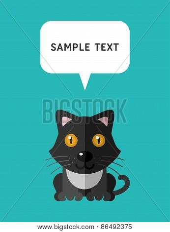 Cute Cat In Flat Design Style With Speach Bubble. Vector Illustration