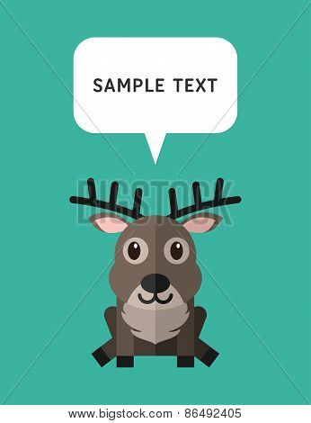 Cute Deer In Flat Design Style With Speach Bubble. Vector Illustration