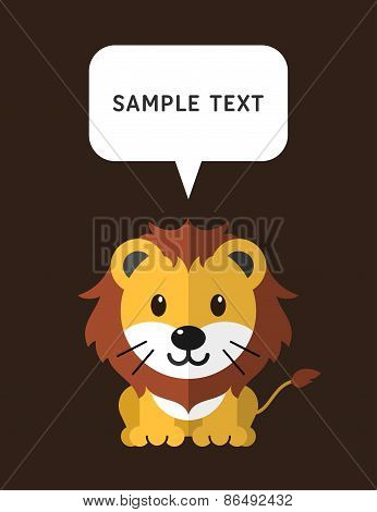 Cute Lion In Flat Design Style With Speach Bubble. Vector Illustration