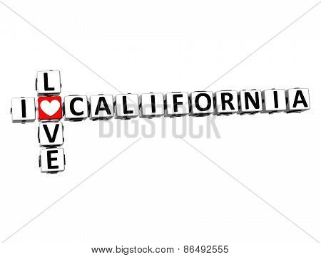 3D Crossword I Love California On White Background