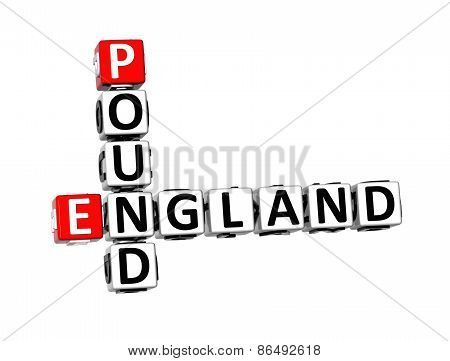 3D Crossword England Pound On White Background