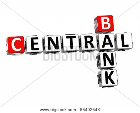 3D Crossword Central Bank On White Background