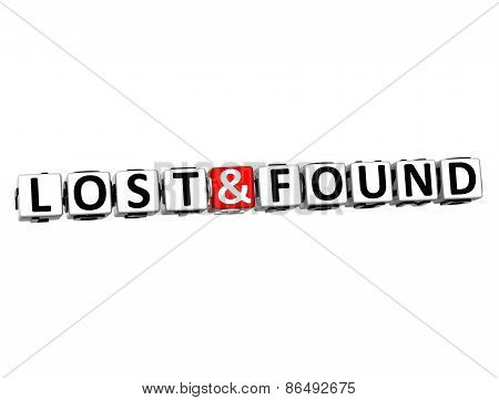 3D Word Lost And Found On White Background