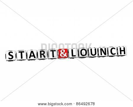 3D Word Start And Lounch On White Background