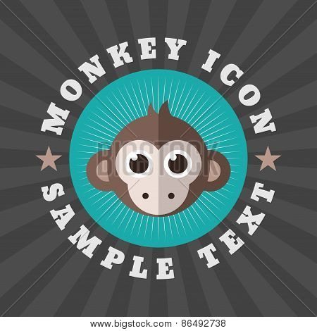 Cute Monkey Icon In Flat Design Style. Logo Or Badge Template