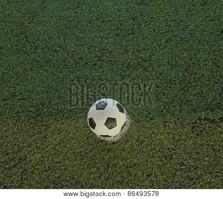 Soccer Ball Or Football On Fake Grass Field