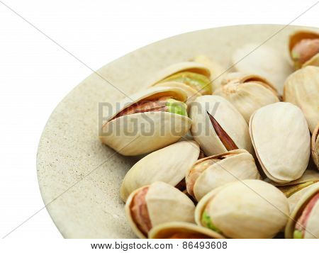 Detailed pistachio nuts. Isolated